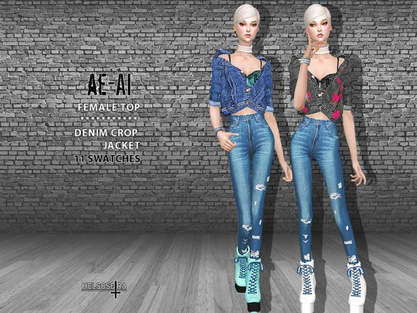The Sims Resource: AEAI   Denim Crop Jacket by Helsoseira