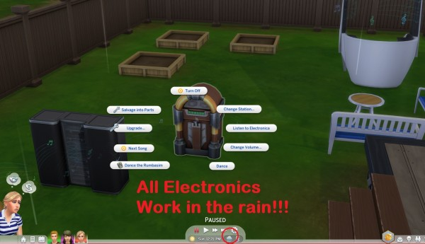 Mod The Sims: Electronics Work In the Rain by simmytime
