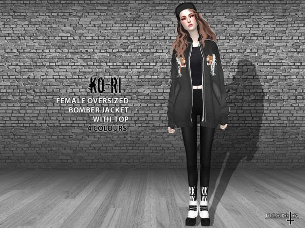 The Sims Resource: KORI   Oversized Bomber Jacket Top by Helsoseira