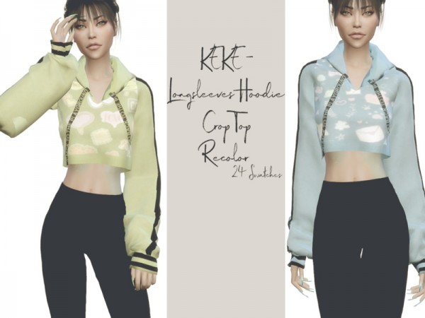 The Sims Resource: KEKE   Longsleeves Hoodie Crop Top Recolored by Reevaly