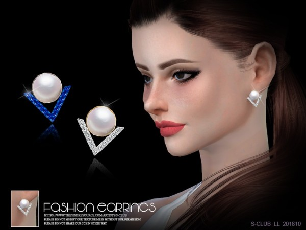 The Sims Resource: Earrings  201810 by S Club