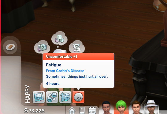 Mod The Sims: Crohns Disease and IBS CAS Traits by SunnyEls
