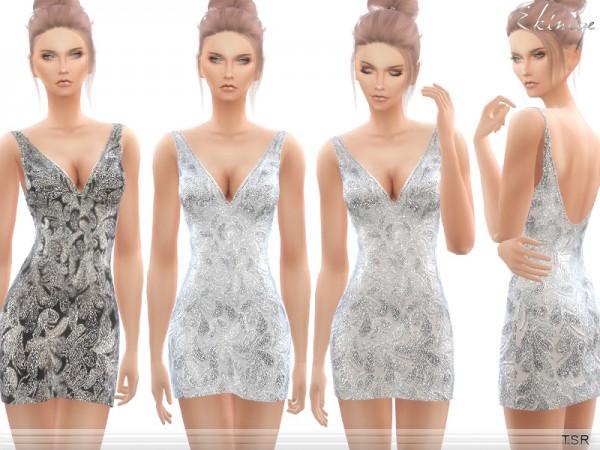 The Sims Resource: Beaded V Neck Short Dress