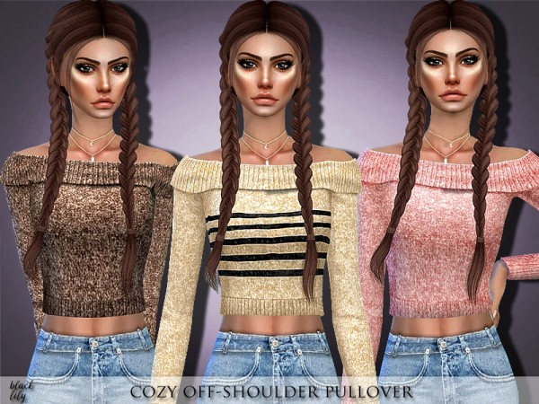 The Sims Resource: Cozy Off Shoulder Pullover by Black Lily