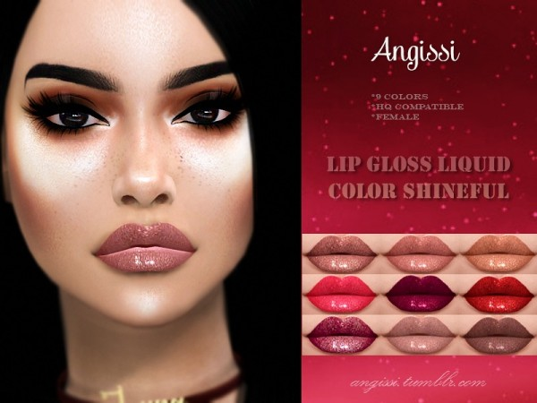 The Sims Resource: Lip gloss Liquid Color Shineful by ANGISSI