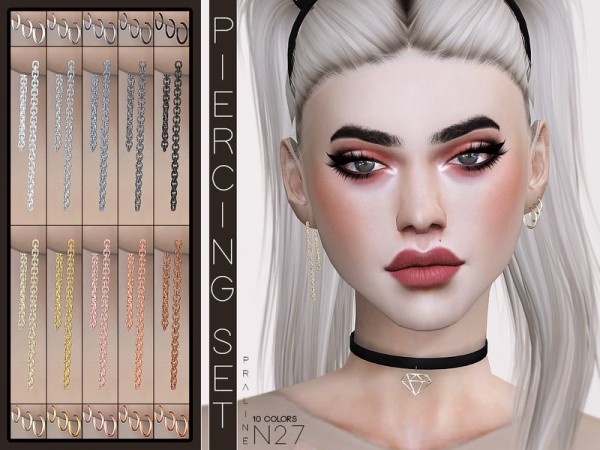 The Sims Resource: Piercing Set N27 by Pralinesims