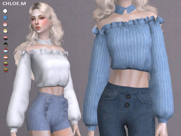 The Sims Resource: Blouse with falbala 03 by ChloeMMM