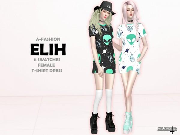 The Sims Resource: Elih Tshirt Mini dress by Helsoseira