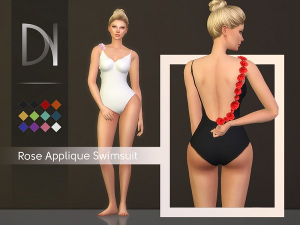 The Sims Resource: Rose Applique Swimsuit by DarkNighTt