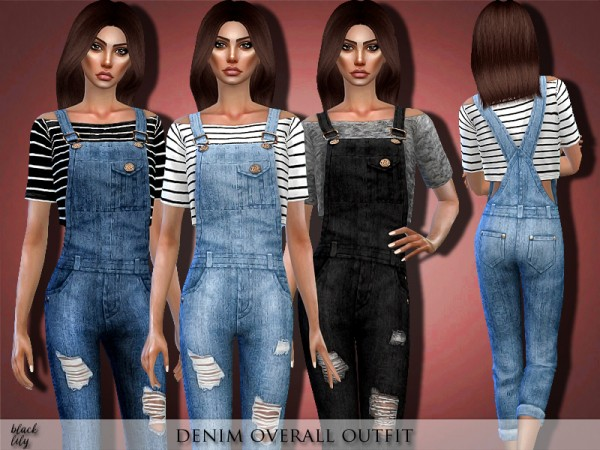 The Sims Resource: Denim Overall Outfit by Black Lily