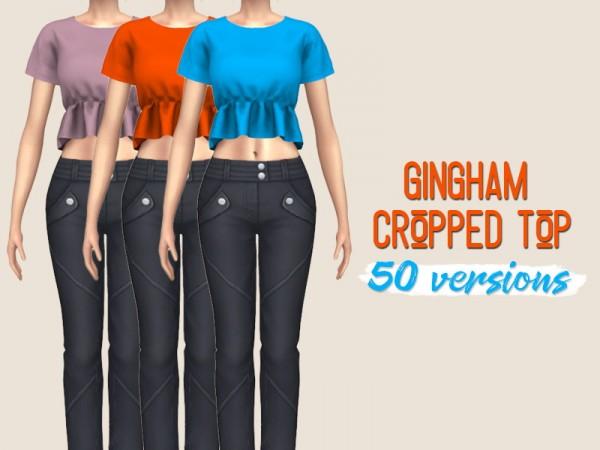 Simsworkshop: Gingham Crop Top by midnightskysims