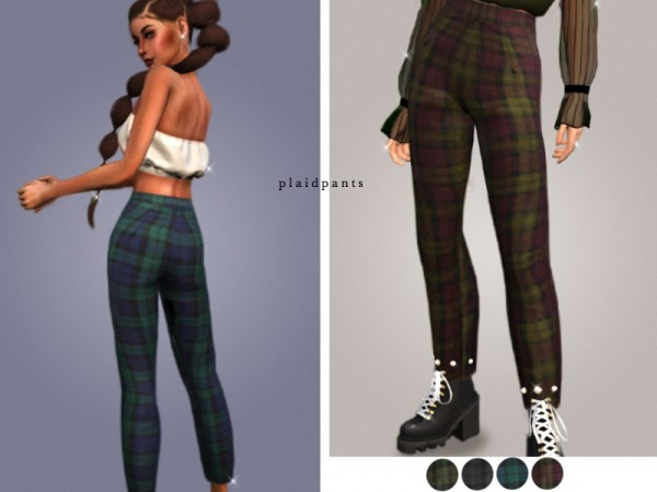 The Sims Resource Plaid Pants By Cosimetics Sims 4