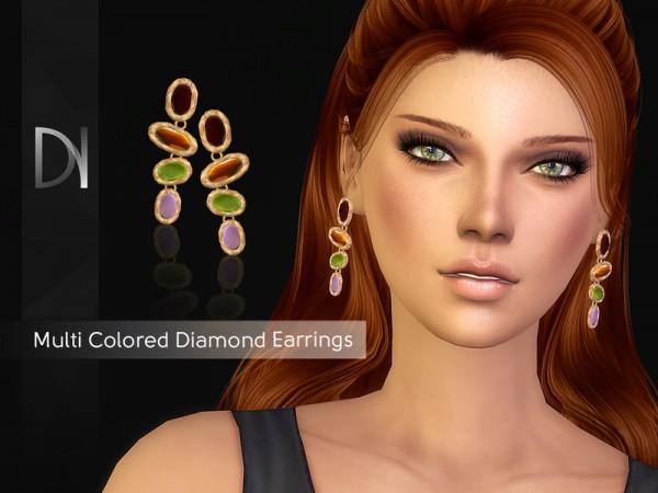 The Sims Resource: Multi Colored Diamond Earrings by DarkNighTt