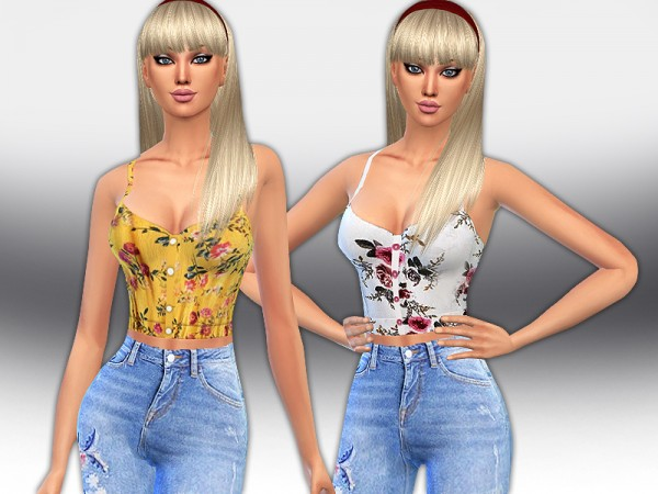 The Sims Resource: Trendy Floral Button Up Tops by Saliwa