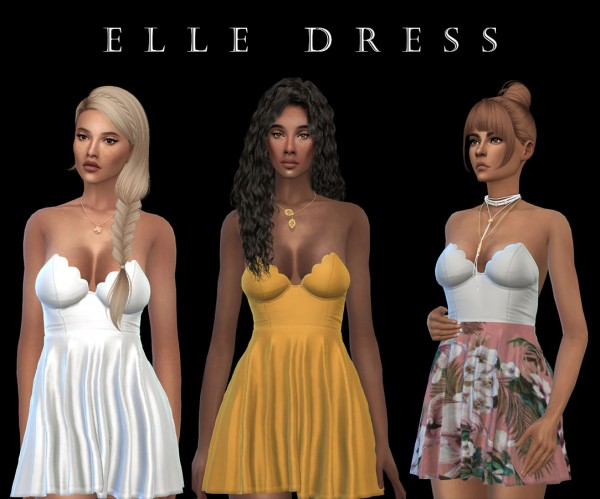 Leo 4 Sims: Elle dress recolored