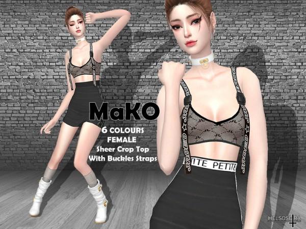 The Sims Resource: MAKO   Sheer Crop Top by Helsoseira