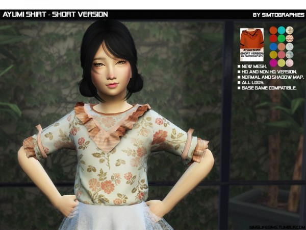 The Sims Resource: Ayumi Shirt by simtographies