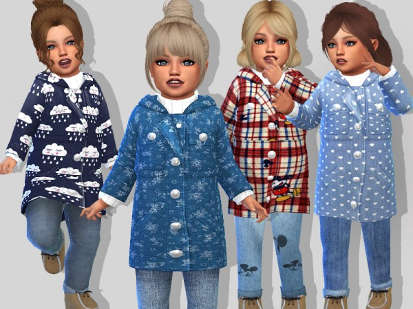 The Sims Resource: Toddler Fall Coat Set by Pinkzombiecupcakes