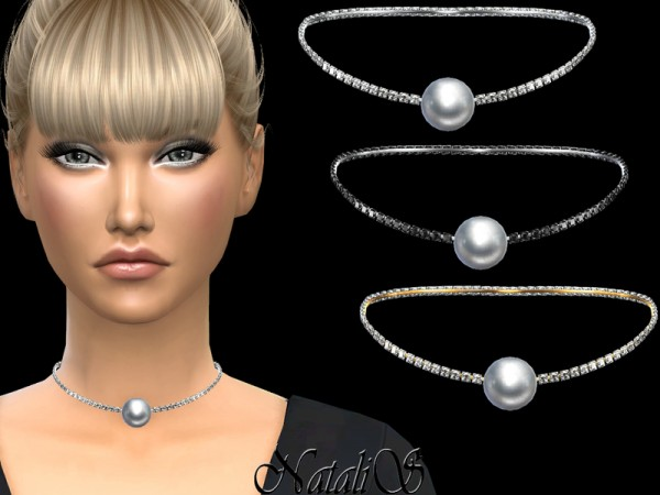 The Sims Resource: Rhinestone and pearl choker by NataliS
