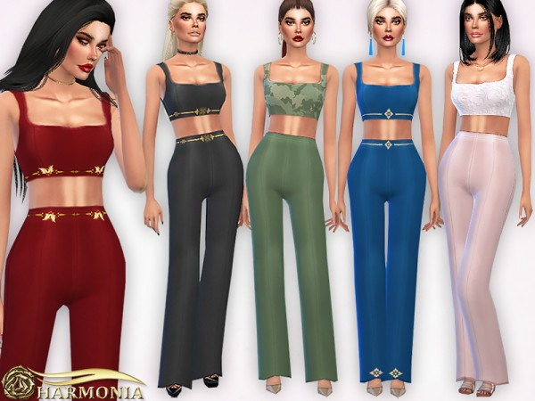 The Sims Resource: Co ords Square Neck Top and Long Leg Trousers by Harmonia