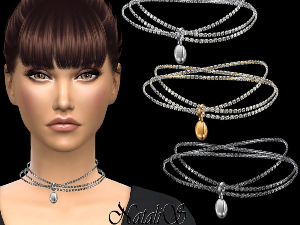 The Sims Resource: Triple crystals necklace with pendant by NataliS