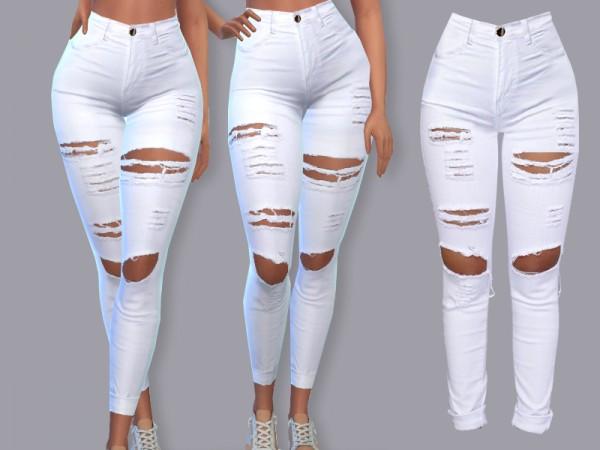 The Sims Resource: White Summer Denim Jeans Margiella by Pinkzombiecupcakes
