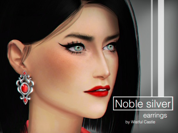 The Sims Resource: Noble silver earrings by WistfulCastle