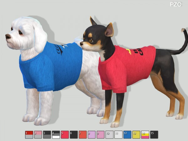 The Sims Resource: Sporty t shirts for small dogs by Pinkzombiecupcakes