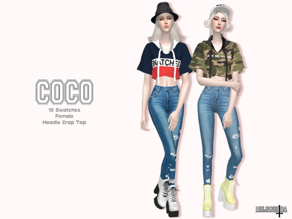 The Sims Resource: COCO Hoodie Crop Top by Helsoseira