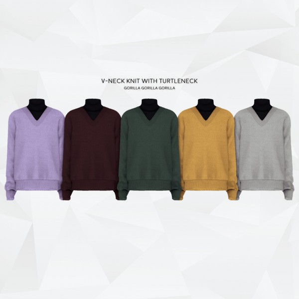 Gorilla: V Neck Knit with Turtleneck