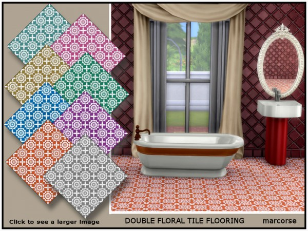 The Sims Resource: Double Floral Tile Flooring by marcorse