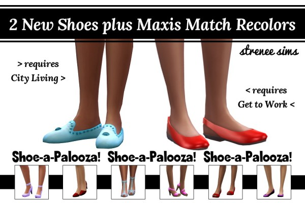 Strenee sims: Two New Shoes plus Maxis Match Recolors