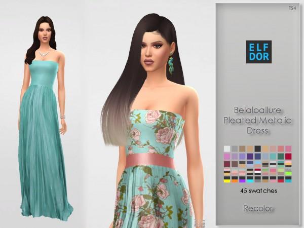 Elfdor: Belaloallure`s Pleated Metalic Dress recolored