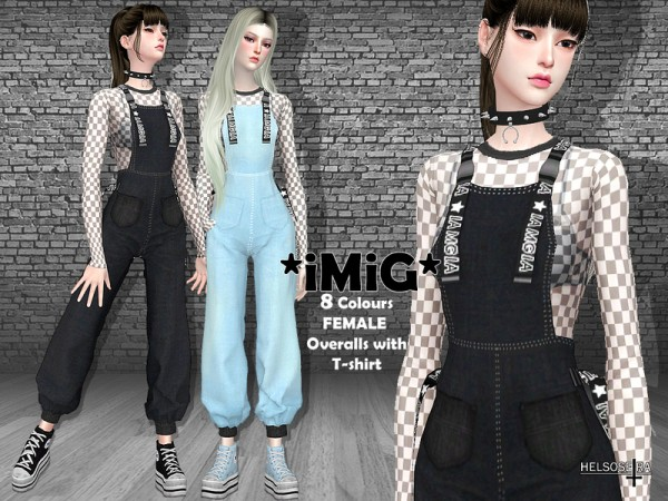 The Sims Resource: IMIG   Overalls with T Shirt by Helsoseira