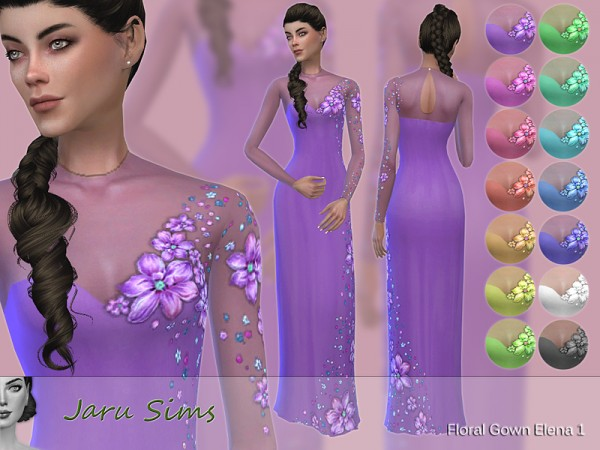 The Sims Resource: Floral Gown Elena 1 by Jaru Sims