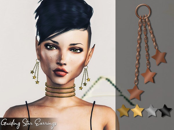The Sims Resource: Guiding Star Earrings by Genius666