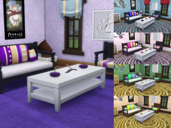 Simsworkshop: Reupholstered Mahogany Loveseat and Chair Recolors by MsWigglySimmer