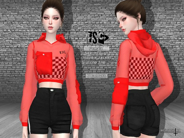 The Sims Resource: ESCv See through Hoodie Jacket by Helsoseira