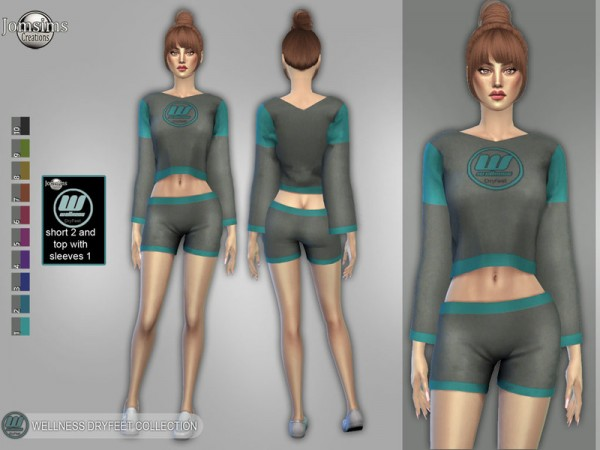 The Sims Resource: Wellness Dry feet short 2 and top with sleeves 1 by jomsims
