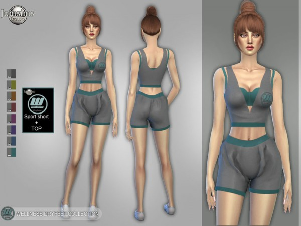 The Sims Resource: Wellness Dry feet sport short and top by jomsims