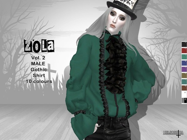 The Sims Resource: ZOLA   Vol.2   Gothic Male Shirt by Helsoseira