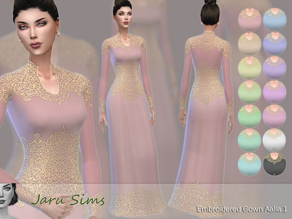 The Sims Resource: Embroidered Gown Aalia 1 by Jaru Sims