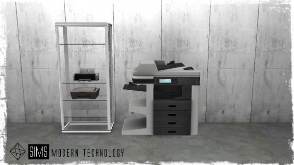 Sims Modern Technology: Copy Machine and Printer Set