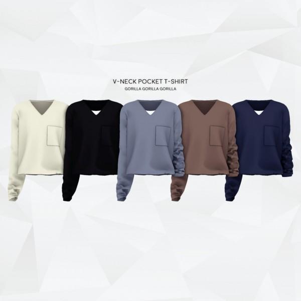 Gorilla: V Neck Pocket T Shirt