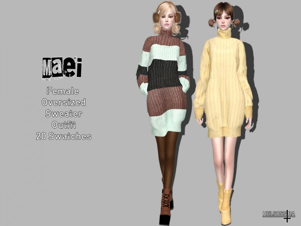The Sims Resource: MAEI   Oversized Sweater   Outfit by Helsoseira