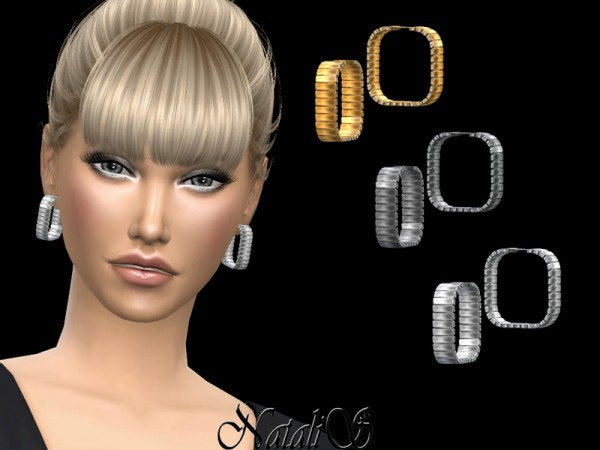 The Sims Resource: Square hoop earrings by NataliS