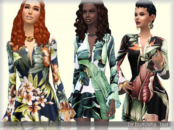 The Sims Resource: Dress Tropical Print by bukovka