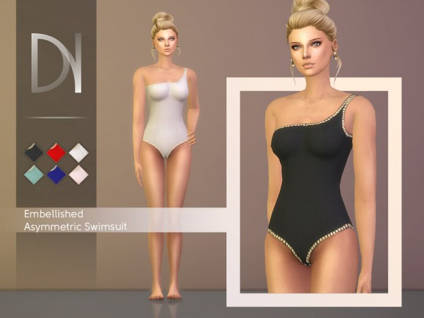 The Sims Resource: Embellished Asymmetric Swimsuit by DarkNighTt