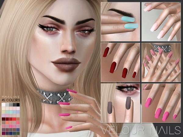 The Sims Resource: Velour Nails N24 by Pralinesims