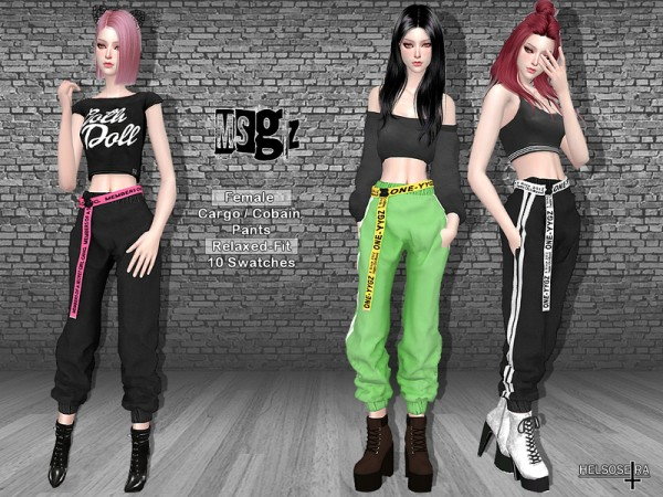The Sims Resource Msgz Cuffed Cargo Pants By Helsoseira